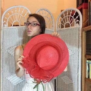 Vintage Accessories - Red Hat Society Big Brim Hat
